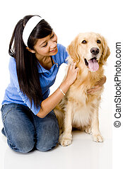 Doggy and His Girl - A pretty young asian woman with her...