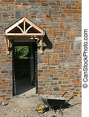 Unfinished Entrance - Doorway of a new house under...