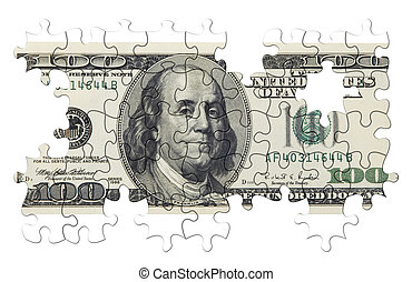 US dollar puzzle - one hundred dollars puzzle(isolated,made...
