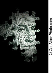 Washington puzzle - USA president as concept for US dollar...