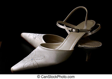 Satin Bridal Shoes - satin cream bride shoes on black...