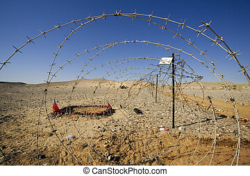 barbed wire at the border of a mine field