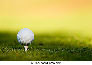 Golf Ball - Golf ball on tee
