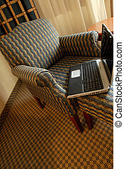 Chair And Notebook - Wing Chair And Notebook/Laptop Computer