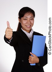 Business woman with thumbs up - Asiann business woman with...