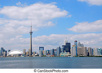 Toronto city skyline on a bright summer day