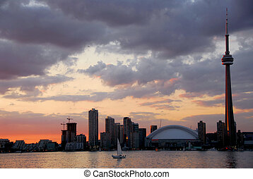 Toronto city skyline at sunset