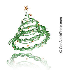 3D Christmas tree - 3D render of a twisted Christmas tree