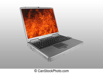 Firewall - Silver laptop with the lid open and fire on the...