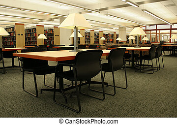Campus Library - Reading tables in a library.