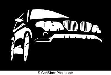 Car - Sketch of car on black background