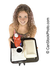 woman with fast food tray