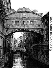 Bridge of Sighs - A black and white view of the Bridge of...