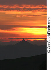 Tor Sunset - A cropped view of Glastonbury Tor at Sunset.