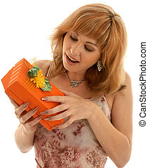 orange box - happy girl with orange gift box