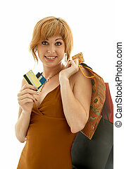 consumer girl - pretty girl with credit cards and shopping...