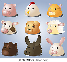 Cartoon animals - Cartoon illustrations of farm animals and...