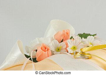 wedding ring cushion - wedding ring on a cushion with...