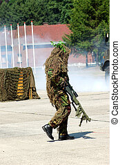 Military intervention, camouflaged solder.