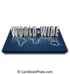 World wide - 3d world map with silver reflective global...