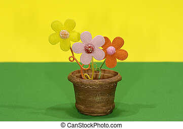 Flower Pot - Photo of a Flower Pot and Fake Flowers