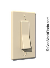 Switch - On - Light-Switch. 3D rendered Illustration.