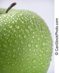green apples - Close-up of green apple with water drops