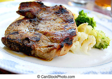 Pork chop dinner - Pork chip dinner with steamed vegetables