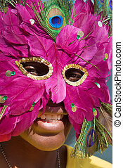 young girl with mask - Young African girl with mask Noise...