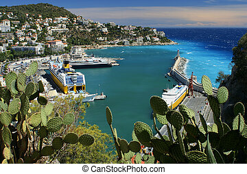 Riviera harbor - harbor on the Riviera in Nice, France