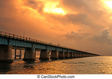 Original Seven Mile Bridge at Sunset