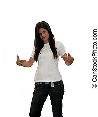 blank t shirt teen - cute teen girl pointing to her blank t...