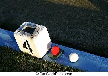 Bowling Green Marker - Lawn bowling green marker on edge of...
