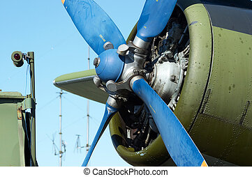 Biplane engine - Close-up biplane engine. AN-2 (Antonov), in...