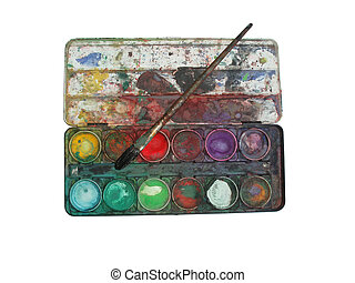 color palette box - Isolation of multicolored well used...