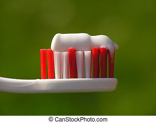 white toothbrush - Close-up of white toothbrush against...