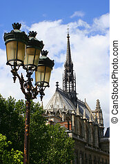 lampost and cathedral