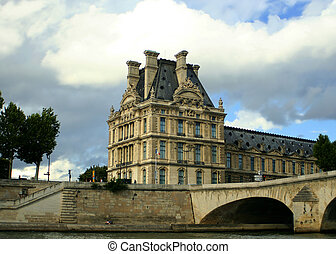 Paris architecture - A building of the Louvre in Paris,...