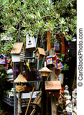 birdhouse market - birdhouses and other crafts at a Paris...