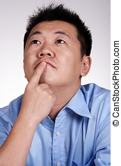 Pondering - A funny pondering asian businessman.