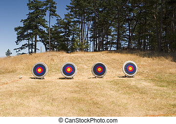 Four Archery Targets - Four archery targets are set up on an...