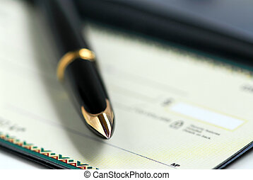 Checkbook pen - Gold fountain pen and cheque