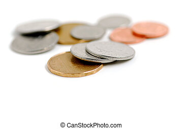 Canada coins - Canadian coins on white background