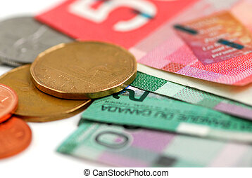 Canada money - Canadian bills and coins closeup