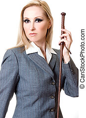 Equestrian style - Woman wearing grey equestrian jacket and...
