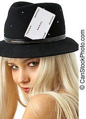 gambling girl - lovely blond in hat with joker card