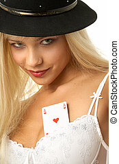 ace of hearts - pretty blond with ace of hearts in her bra