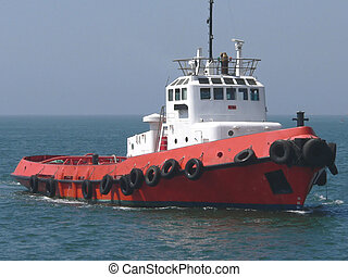 Red Tugboat - Tugboat in Port