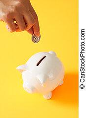 Save money - A woman saving a coin into a piggy bank