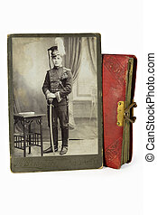 The gallant officer in an ancient photo of the beginning of...